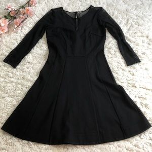 French connection sheer long sleeve skater dress